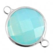 Crystal glas tussenstukken rond 16mm Aqua blue opal-Silver