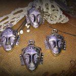 2 x  zilveren metalen bedel gezicht/hoofdje 22 mm