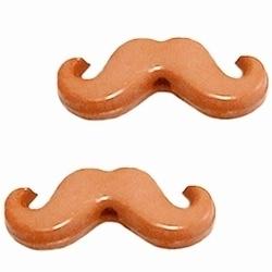 10 Stuks Kunststof kraal moustache snor  Beige 20 x 8 mm
