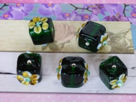 Per stuk High Quality Glass Hand Made Bead 160 c.a. 18 x 18 x 14mm