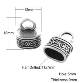 1 x  Tibetaans zilveren eindkapje 13 x 15 x 10mm diameter 12 x 7mm oogje: 3mm