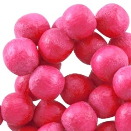 20x Nature houten kralen rond 8 mm Raspberry rose