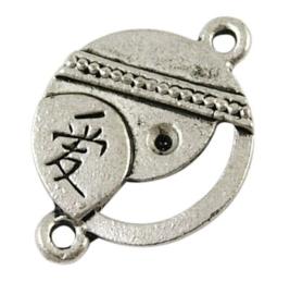 2 x prachtige tibetaans zilveren tussenzetsel 26 x 18 x 2mm Gat: 2mm