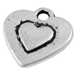 10 x Tibetaans zilveren bedeltje hart 10,5x10mm