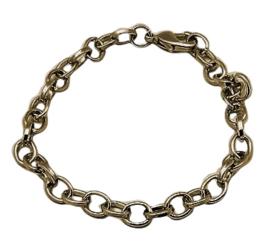 Prachtige basis armband om bedels aan te bevestigen 21cm, schakel is 4x7mm geel koper kleur