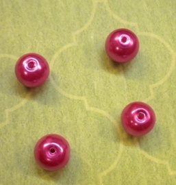 20 x Hot Pink Glasparel 12 mm gat: 1,6 mm