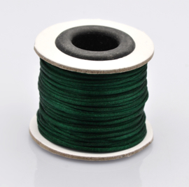 Rol met 30 meter satijn koord Nylon Marcramé koord 1mm kleur dark green
