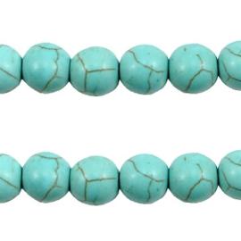 5x  Keramiek turquoise kralen rond 8mm Turquoise blauw