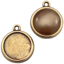 Houder N: DQ metaal settings 1 oog voor 20 mm cabochon geel koper (nikkelvrij)