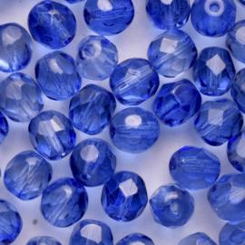 15  x ronde Tsjechië  kraal kristal facet 7mm kleur: blauw gat: 1mm