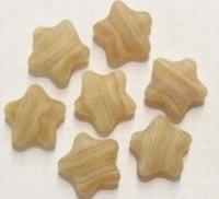 10 stuks glaskraal ster mat beige gemeleerd 12 mm