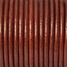 50cm DQ koord van runderleer 1mm dik kleur rood bruin