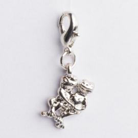 Be Charmed bedel kikker met karabijnsluiting zilver met een rhodium laag (nikkelvrij)
