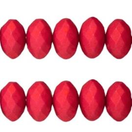 20 stuks diep rode acryl facet kraal donut 6 x 10mm; gat: 1,6 mm