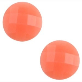 2 x Basic cabochon 10mm Coral orange opal