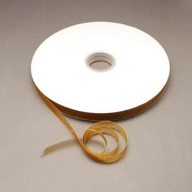 2 meter Organza lint 10mm breed per meter,  bruin- goud