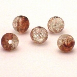 30 stuks crackle glas kralen 8mm bruin transparant
