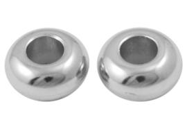 15 stuks metaallook kralen 10 x 5mm gat: 4mm geschikt voor veters