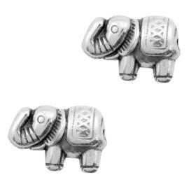 2 x Kralen DQ metaal olifant 13x9mm Antiek zilver