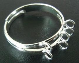 Verstelbare verzilverde basis ring, Ø c.a.18 mm