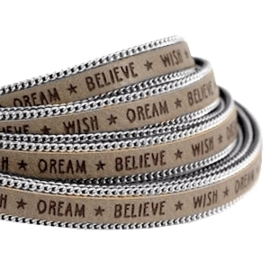 20 cm  Quote imi leer 10mm met schakelketting zilver Wish dream believe Terra brown