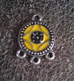 Per stuk tibetaans zilveren bedel/tussenzetsel met epoxy 21 x 15 mm geel
