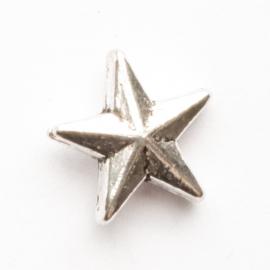 10 x metalen kraal ster zilver kleur 12,5 x 5 mm gat: 1,5mm