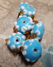 5x prachtige licht blauwe glaskraal met bloem 14x8mm Gat: 2mm