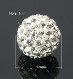 1 x prachtige Shamballa Resin strass ballen 12 mm gat: 2mm Crystal