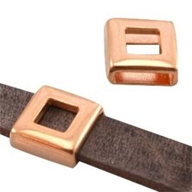 1 x DQ metaal schuiver vierkant (DQ leer plat 10mm) Rosé goud