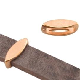 2 x DQ metaal schuiver ovaal (voor DQ leer plat 10mm) Rosé goud (nikkelvrij)