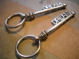 Prachtige Tibetaans zilveren sleutel dream 52 x 17,5 x 5mm Gat: 14mm