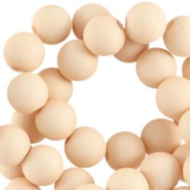 20 stuks Acryl kralen mat rond 6mm Peachy beige gat c.a. 1mm