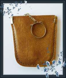 Sleutel etui - faux leder kleur camel model A