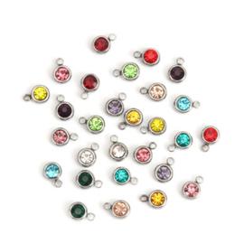 5 stuks prachtige kleine RVS hangertjes met bergkristal strass 8 x 6mm mix