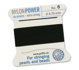 Nylon Power no stretch - extra strong 2 meter met naald  No: 6 Ø 0,70mm zwart