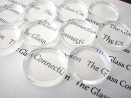 1 x cabochon glas transparant plat rond Ø 25mm  5mm dik
