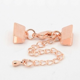 Rose gold  veterklem met sluiting incl. verlengketting 10mm