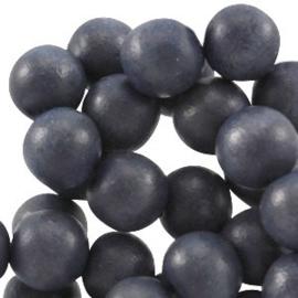 20x Aardse tinten houten kralen rond 8 mm Dark blue