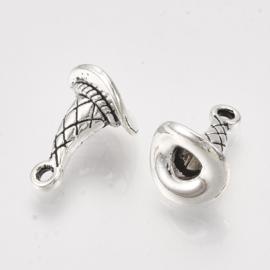 2 x Leuke Tibetaans zilveren 3D bedel heksenhoed 15 x 10,5 x 10mm oogje: 1.6mm