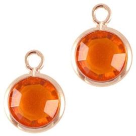 2 x DQ facethanger gekleurd Rose gold-orange 7x10 mm