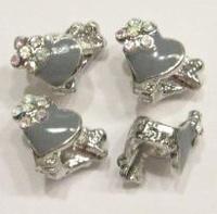 Per stuk metalen European Jewelry bedel kraal met grijs epoxy hartje 17 mm