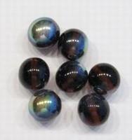 10 stuks Glaskraal rond transparant Bruin AB. 12 mm