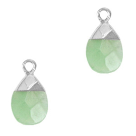 1 x Natuursteen hangers Ocean green-silver