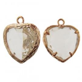 Bedel metaal hart cubic zirconia  facet transparant rosé goud 16x19mm