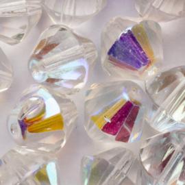 10 x Bicone Tsjechië  Kristal kraal 14 mm kleur: transparant Gat: 1mm