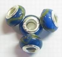 Per stuk Glaskraal European style met zilveren (925) kern Blauw 14 mm