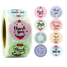 1 rol 500 stickers Wensetiket zegel rond 25mm Thank You mix 8 soorten