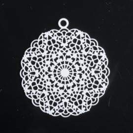 1x Hanger Bohemian rond 24mm wit oogje: 1,5mm