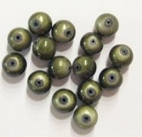 10 stuks 3D miracle kraal,  olijf-groen  rond 8mm gat c.a. 1,5mm